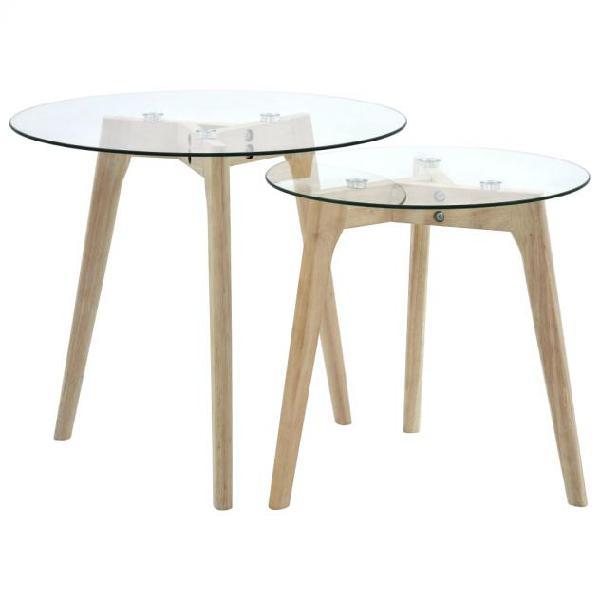 Vidaxl set di tavolini da salotto 2 pz in vetro temperato