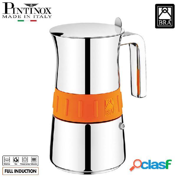 Pintinox elegance arancio caffettiera moka 6 tazze acciaio inox oro