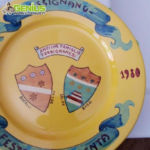 Rara coppia di piatti ceramica d'imola festa della polenta