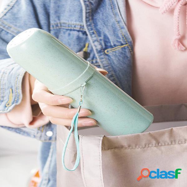 Tazza per denti a doppio uso paglia di grano spazzolino da denti portatile porta dentifricio contenitore per tazze doppi