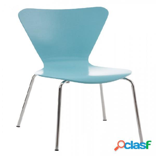 Sedia moderna impilabile in legno laccato azzurro