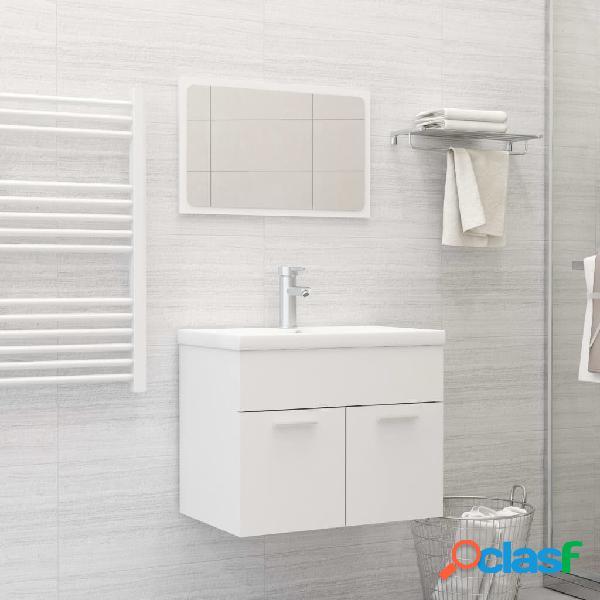Vidaxl set mobili da bagno bianco in truciolato