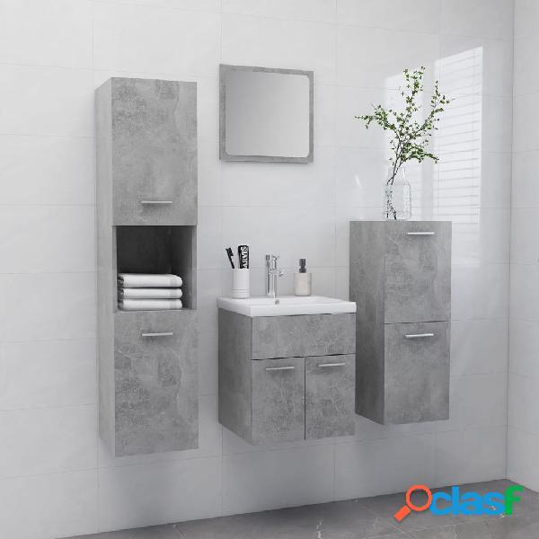 Vidaxl set mobili da bagno grigio cemento in truciolato