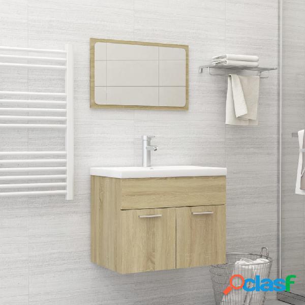 Vidaxl set mobili da bagno rovere sonoma in truciolato