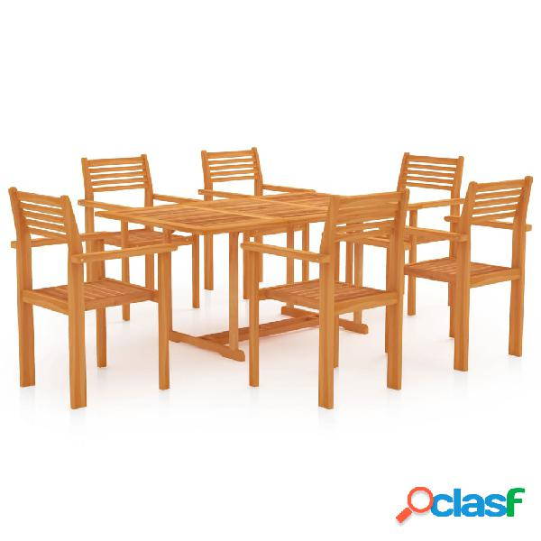 Vidaxl set da pranzo da giardino 7 pz in legno massello di teak