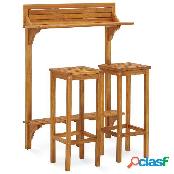 Vidaxl set mobili da giardino 3 pz in legno massello di acacia