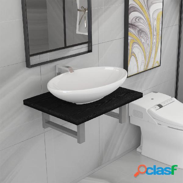Vidaxl set mobili da bagno 2 pz ceramica nero