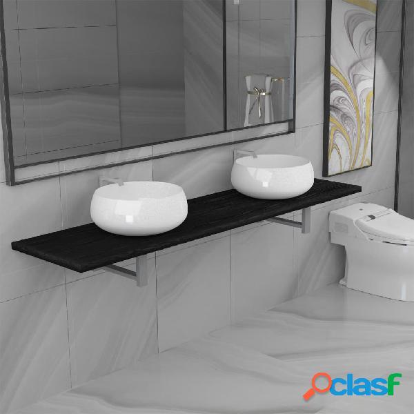 Vidaxl set mobili da bagno 3 pz in ceramica nera