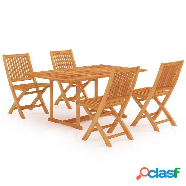 Vidaxl set da pranzo da giardino 5 pz in legno massello di teak