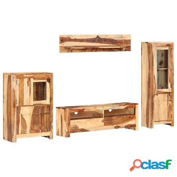Vidaxl set mobili porta tv 4 pz in legno massello di sheesham