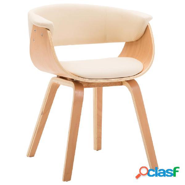 Vidaxl sedia da pranzo crema in legno piegato e similpelle