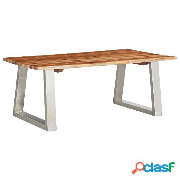 Vidaxl tavolo da caffè 100x60x40 cm massello d'acacia e acciaio inox