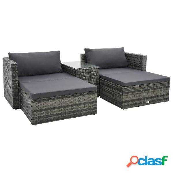 Vidaxl set divani da giardino 5 pz con cuscini in polyrattan marrone