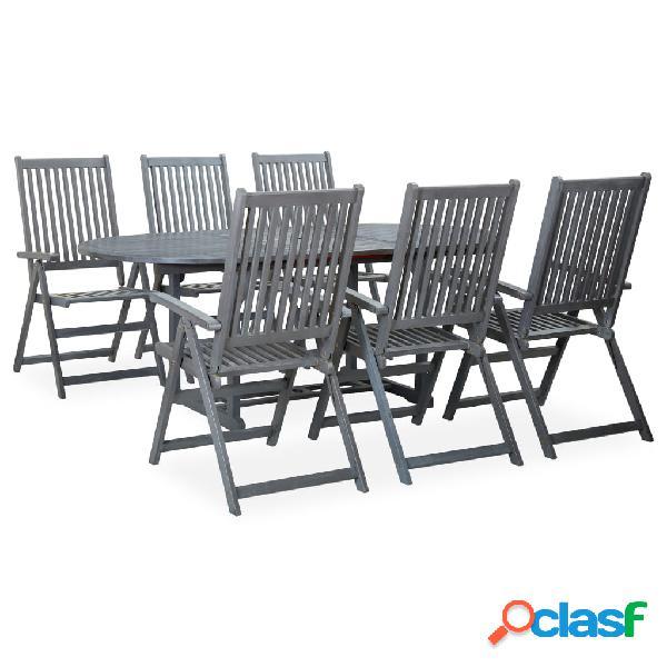 Vidaxl set da pranzo da giardino 7 pz legno massello di acacia grigio