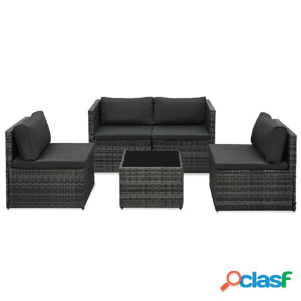 Vidaxl set divani da giardino 5 pz con cuscini in polyrattan nero
