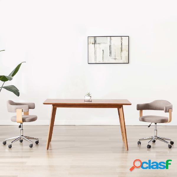 Vidaxl sedia da pranzo girevole grigio talpa legno ricurvo e tessuto