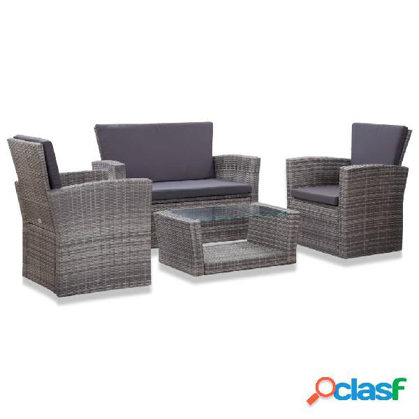 Vidaxl set divani da giardino 4 pz con cuscini in polyrattan grigio