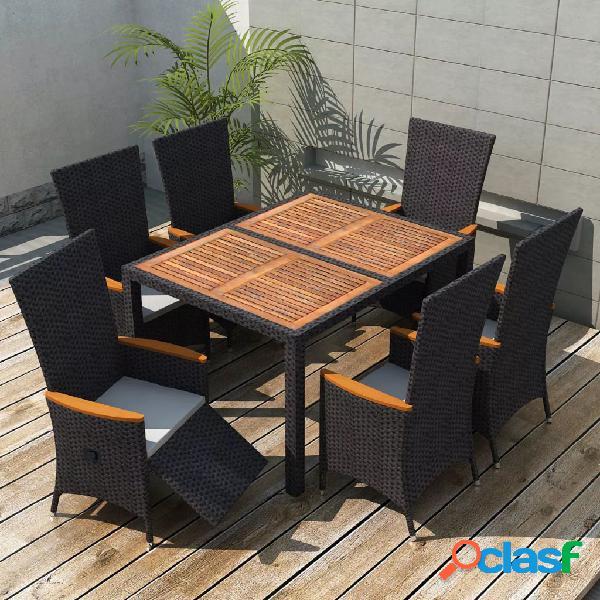 Vidaxl set da pranzo da giardino 7 pz in polyrattan e acacia nero