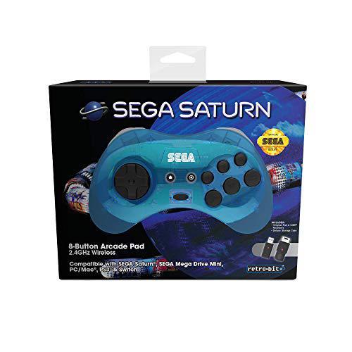 Sega saturn 8-button arcade pad wireless blue