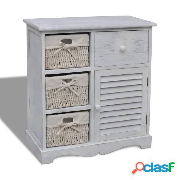 Vidaxl armadietto in legno con 3 cestini intrecciati bianco