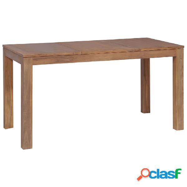 Vidaxl tavolo in legno massello di teak finitura naturale 140x70x76 cm