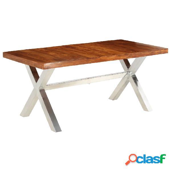Vidaxl tavolo in legno massello con finitura in sheesham 180x90x76 cm