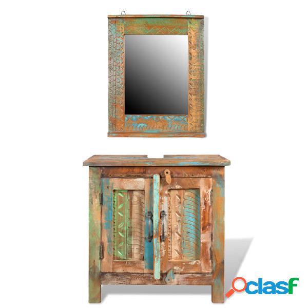 Vidaxl armadietto in legno di recupero solido per bagno con specchio