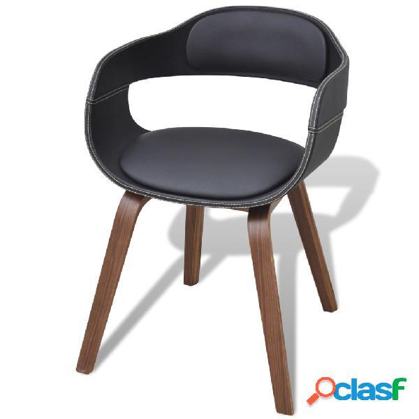 Vidaxl sedia da pranzo in legno piegato e similpelle