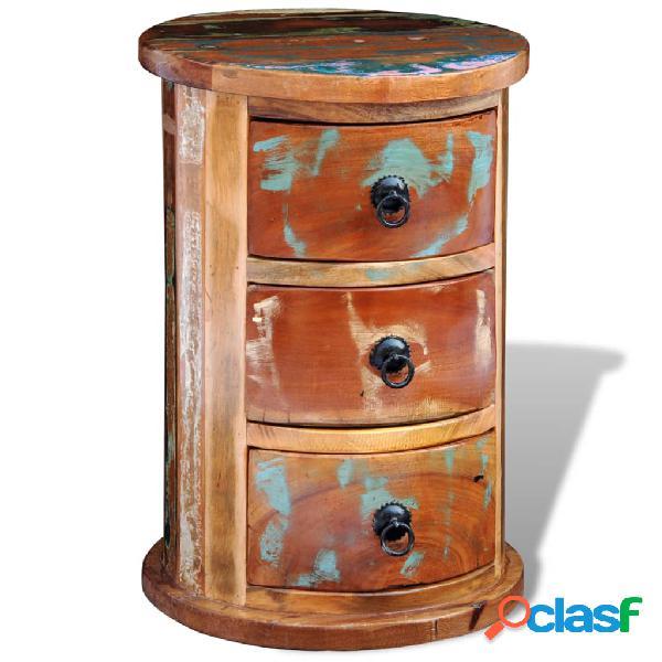 Vidaxl armadietto in legno massello di recupero con 3 cassetti