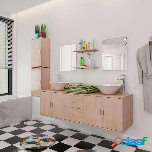 Vidaxl set mobili da bagno 9 pz con lavandino beige