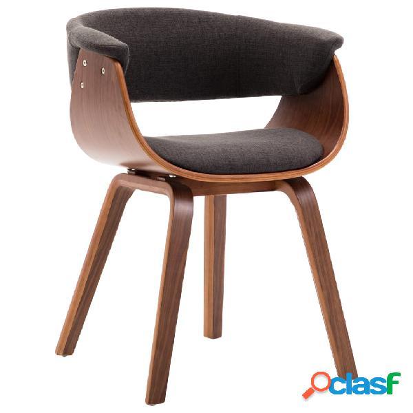 Vidaxl sedia da pranzo grigia in legno piegato e tessuto