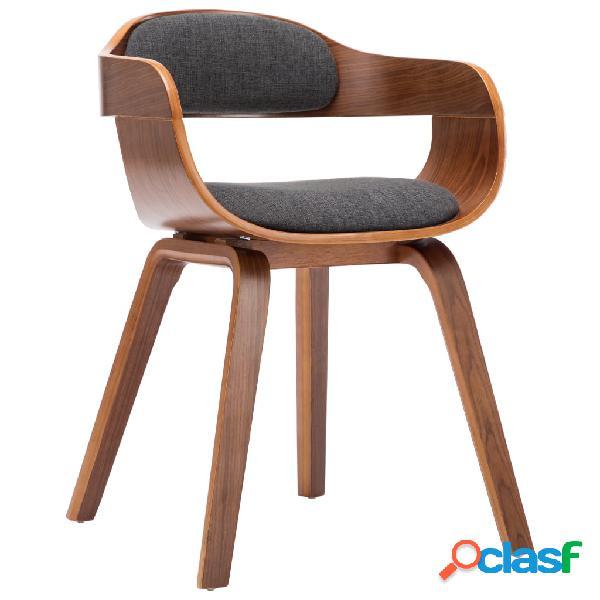 Vidaxl sedia da pranzo grigio scuro in tessuto e legno curvato
