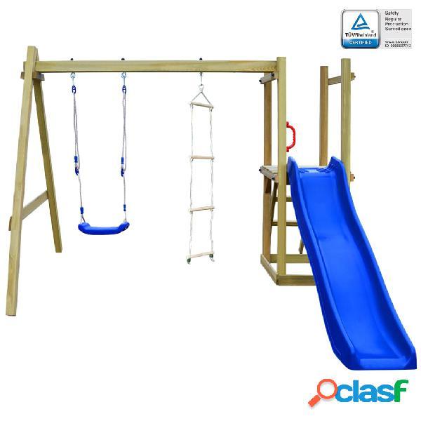Vidaxl casa gioco con scivolo scale altalena 242x237x175 cm in legno