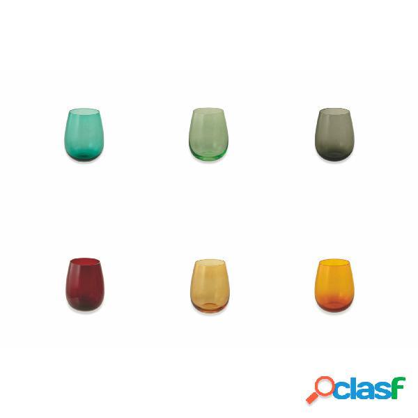 Set 6 bicchieri acqua happy hour in vetro multicolor, diametro 9.3 x altezza 11.3 cm, capacità 420 ml