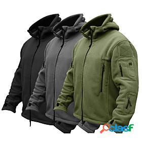 Men's hoodie jacket hiking fleece jacket winter military tactical outdoor solid color thermal warm windproof fleece lining breathable multi pockets full zip ja