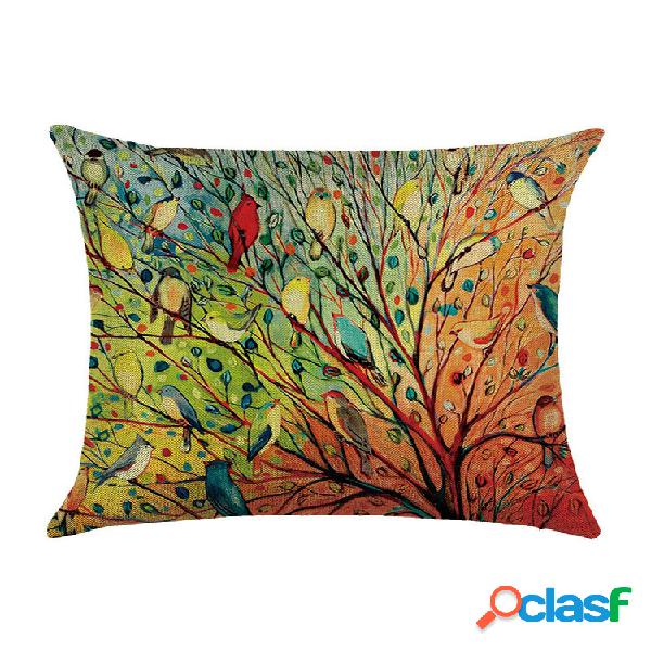 Cuscini decorativi per la casa uccelli animali cuscini in cotone e lino 45x45 cm cuscini per schienale federa