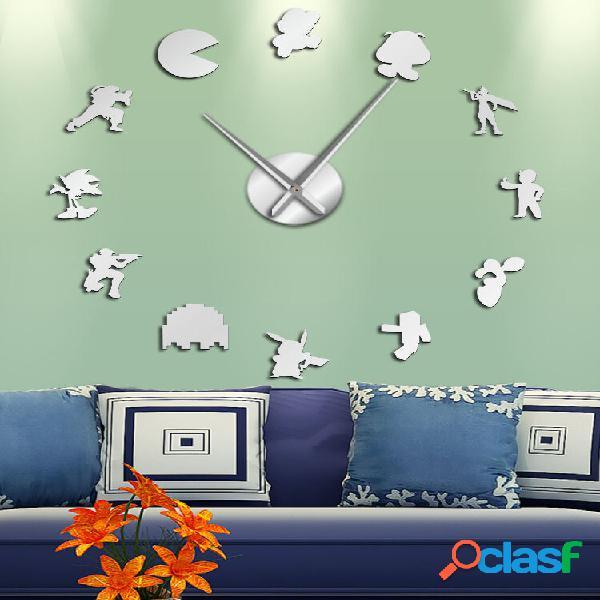 Retro fai da te adesivi murali personaggi dei videogiochi orologio da parete grande orologio muto decorazione sala gioch