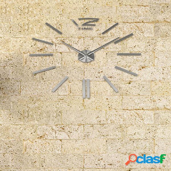 Grande grande orologio da parete senza cornice fai da te kit decorazione specchio 3d argento