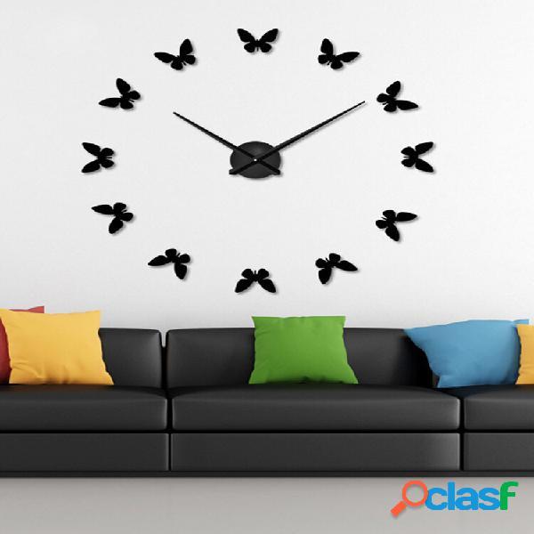 Orologio da parete grande 3d fai da te home decor mirror sticker art clock