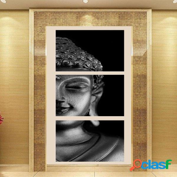 3pcs abstract splicing buddha canvas wall art dipinto home decor