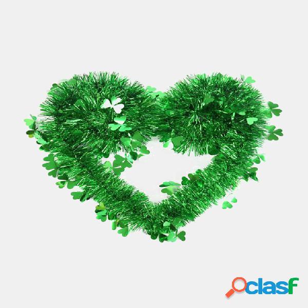 Happy st.patrick's day green clover flower ribbon pendant wedding home door wall yard indoor outdoor irish party decor f