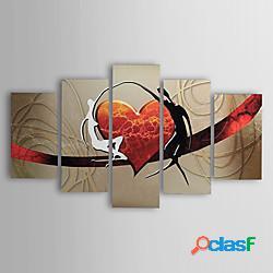 Dipinti ad olio dipinti a mano moderni astratti amanti cuore tela cinque pannelli pronti da appendere con cornice tesa miniinthebox