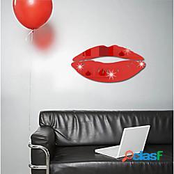 Labbra rosse adesivi murali specchio 3d decorazioni per la casa adesivi murali art decal per camerette soggiorno decorazione murale decorazione 25 13 cm miniinthebox