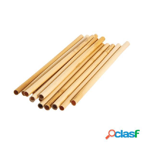Cannucce riutilizzabili in bamboo colore naturale cm 25x0,9-1 - legno