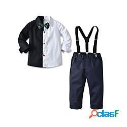 Bambino bambino (1-4 anni) da ragazzo camicia e pantaloni completo 3 pezzi manica lunga ragazzo nero) a quadri casuale compleanno essenziale gentile standard 2-6 anni miniinthebox