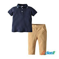Bambino bambino (1-4 anni) da ragazzo t-shirt e pantaloni completo 2 pezzi manica corta blu (ragazzo) tinta unita casuale casual / quotidiano essenziale fantastico standard 2-6 anni miniinthe