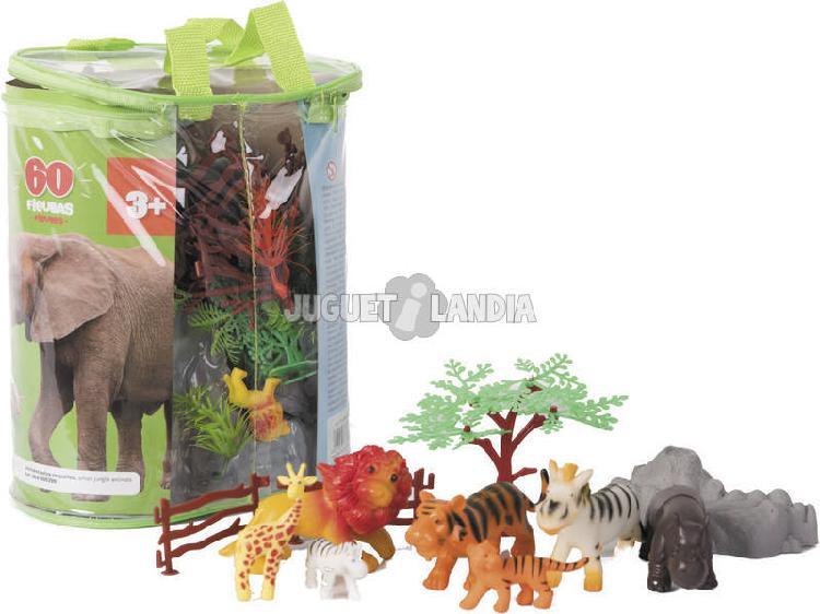 Animali giungla mondo animale 60 pezzi