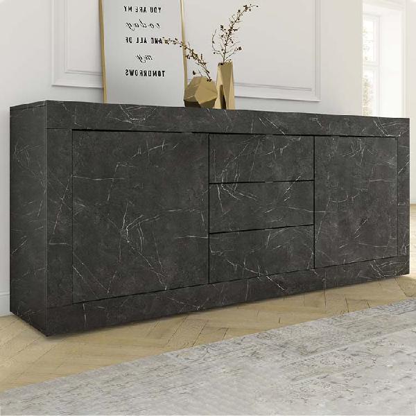 Madia 2 ante 3 cassetti basic marmo nero