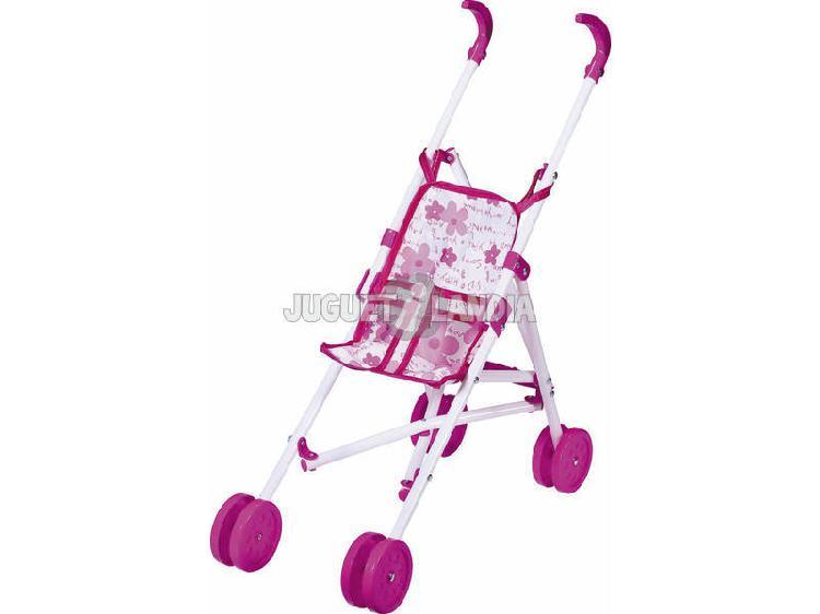 Passeggino per bambole rosa e bianco pieghevole rosa toys