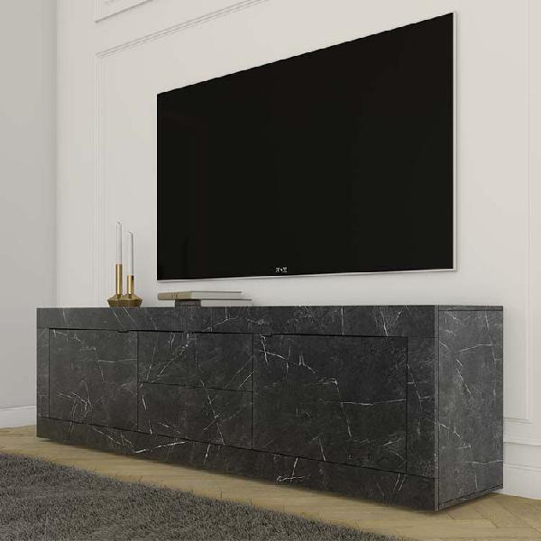 Porta tv 2 ante 2 cassetti basic marmo nero